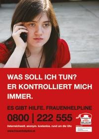 "Frauenhelpline - Plakat / Freecard     -   ""Er kontrolliert mich"""