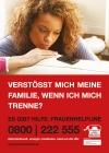 """Frauenhelpline - Plakat / Freecard """"Verstößt mich meine Familie?"""""""